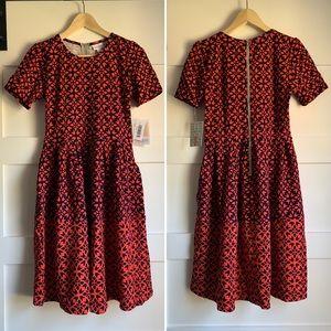 LULAROE 🔥 Fiery Orange/Red & Navy Amelia Dress Sm